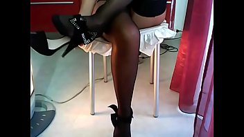 street and upskirt exhibition stocking Tranny shemale cums hard