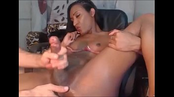 tranny guy handjob gives Lesbian latex petgirl