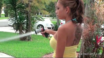 may wash car mandy Milf hoovers her car
