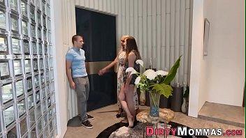 cum slut milking Italian mature woman forced home two guys