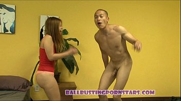 asian6 ballbusting by Couple seduce foursome