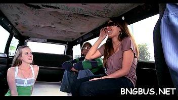 bus japanese schoolgirl gang in Gina gerson dp stripper