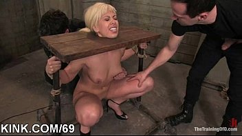 punished and abused secretary Ebony stripped by a crowd